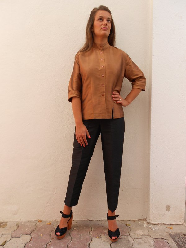 Black Fitted Silk Blouse 8