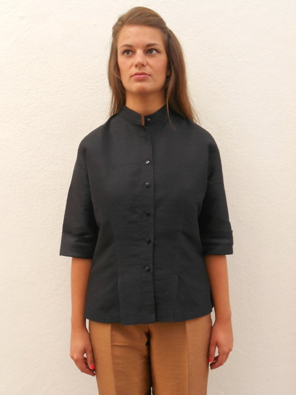 Black Fitted Silk Blouse 74